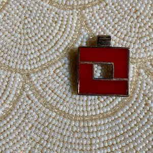 Small vintage sterling & red jasper inlay pendant